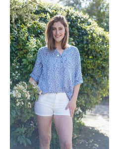 Fay Blue Jean Cotton & Linen Top with Gypsophila
