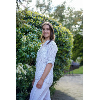 Fay White Cotton & Linen Top with Gypsophila