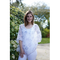 Charlie Silk Top with Blue Feathers