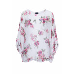 Charlie Silk Top with Red Amrillis