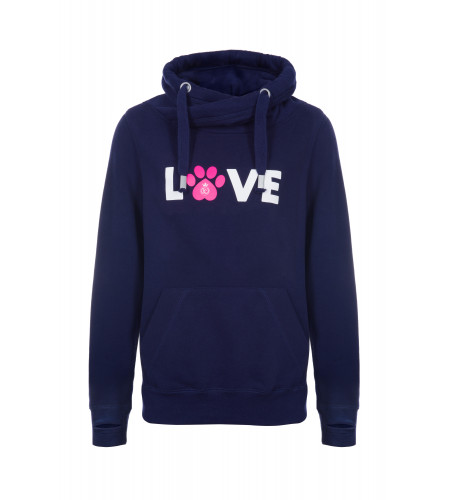 Gigi Navy Crossover Cowl Neck Hoodie with Paws