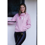 Gigi Pink Crossover Cowl Neck Hoodie with Horseshoe