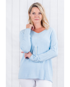 Ellie Fine Knit Jumper Sky Blue with Silver Elbows
