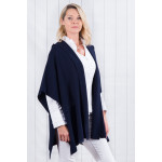 Luna Sleeveless Cardigan With Hood In Navy