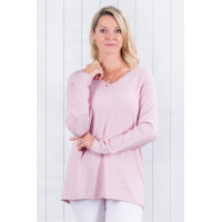 Ellie Fine Knit Jumper Pink With Silver Elbows