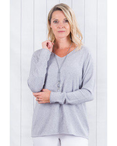 Ellie Fine Knit Jumper Grey With Silver Elbows