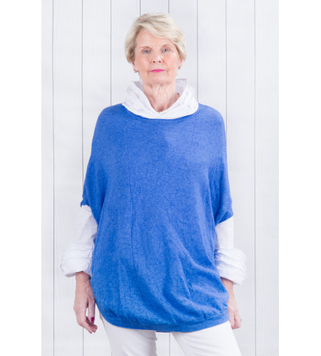 Selena Scoop Poncho Royal Blue